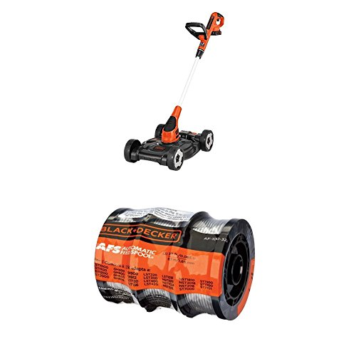 BLACK+DECKER MTC220 20V Lithium Ion 3-in-1 Trimmer/Edger and Mower, 12'' WITH BLACK+DECKER AF-100-3ZP 30ft 0.065'' Line String Trimmer Replacement Spool, 3-Pack by