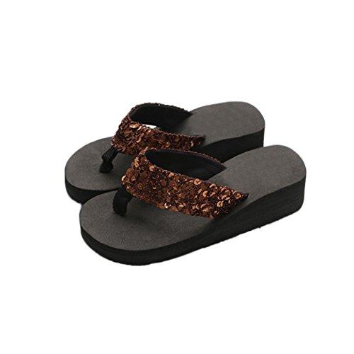 XILALU Women Summer Casual Anti-Slip Slipper, Indoor Outdoor Sequins Sandals Beach Shoes, Soft Foams Sole Pool Flip-Flops Coffee