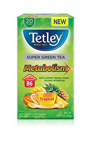 Bag Super 20 Tea Energy - Tetley Super Green Tea Metabolism, Tropical, 20 Tea Bags (Pack of 4)