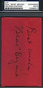 PAUL BEAR BRYANT SIGNED PSA/DNA COA 3X5 INDEX CARD AUTHENTIC AUTOGRAPH
