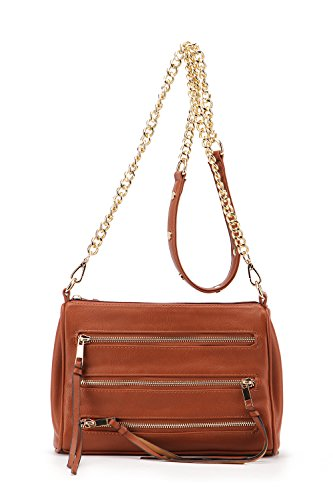 Triple Zippered Pocket Arlene Chain Strap Crossbody Bag MKF Collection Handbags by Mia K. Farrow (Brown) (Mia Bag Chain)