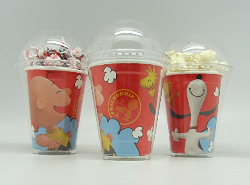 Snoopy Party Favor Box (Set of 8 - Peanuts Charlie Brown, Snoopy Party Cups, Popcorn Cups, Goody Bags, Favor Boxes by Neon)