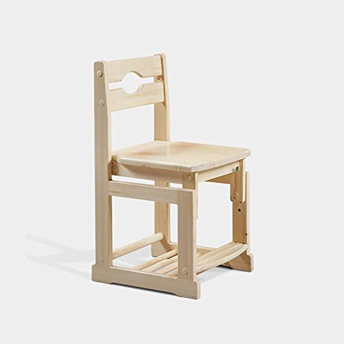 Simple and modern Solid wood Pine wood Correction posture Children's chair Study chair Household adjustable Chair lift Desk chair computer chair Dining chair Small stool , wood color , 434276cm (Pine Chair Office)
