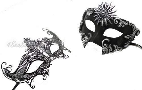 His & Hers Masquerade Couples Venetian Design Masks Sun God & Queen - 2 Piece Colored Set - Perfect Couple Mardi Gras Majestic Party Halloween Ball (God Mask)