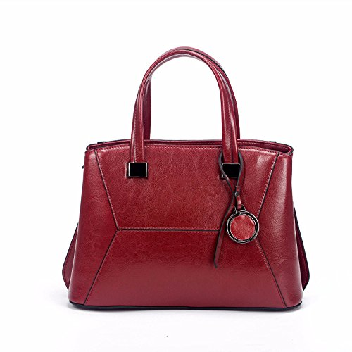 Capacity Messenger Wax Large Shoulder Women's Fashion Vintage Red Handbag Leather Oil Bag YpFxqY0wtz