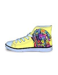 Owaheson Canvas High Top Sneaker Casual Skate Shoe Boys Girls Colorful Art Labrador Retriever Not So Happy