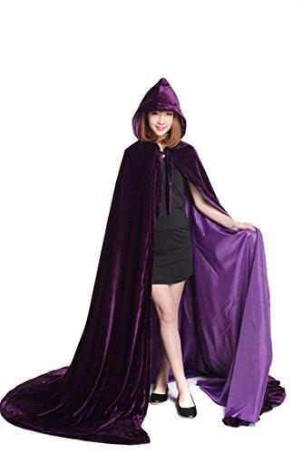 [Baju Unisex-adult?¡¥s Halloween Velvet Satin Lined Hooded Cloak XX-Large purple] (Purple Hooded Robe Adult Costumes)
