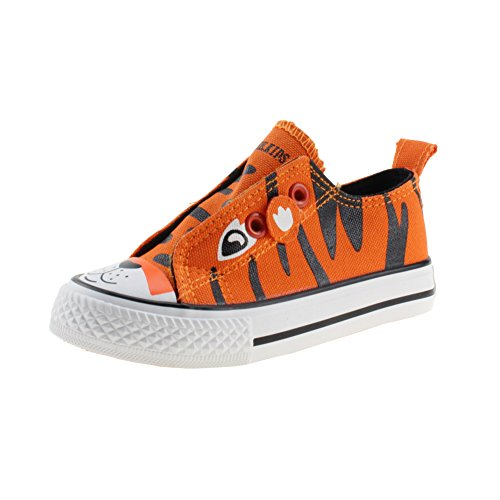 Baby Boy's Girl's Canavas Shoes Lace Up Sneakers, Orange, Size 8, Toddler -