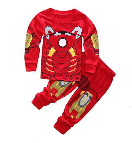 Sidney Boys Ironman Pjs Pants 2 Piece Pajama Set,Size 2-7Yrs (Red, 6t) -