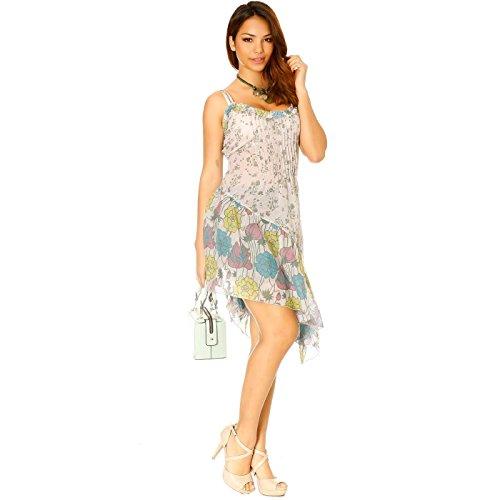 Miss Wear Line - Robe asymétrique grise à bretelles motif fleurs
