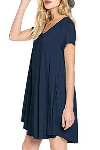 LILBETTER Women's Short Sleeve Pocket Casual Loose T-Shirt Dress (Navy Blue XL)