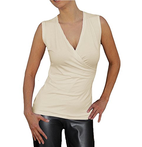 Ooh la la Woman's Sleeveless Surplice Wrap Front Soft Knit Tank Top Blouse (Large 36-37, Ivory) (Tops 36 Soft)