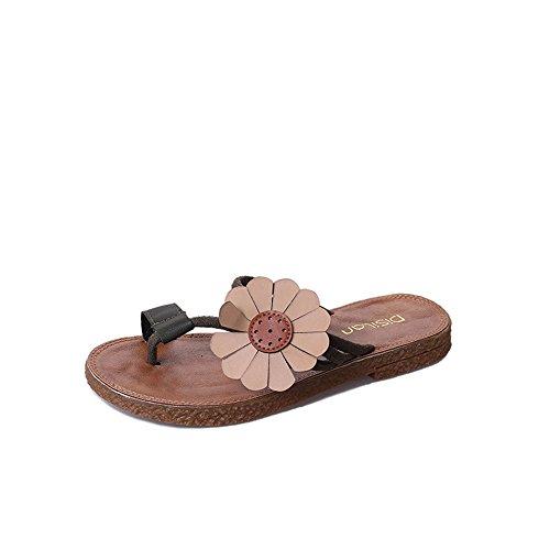 38 Bascule Noir à Fond EU antidérapantes Chaussures Plat Couleur à Taille Plage Chaussures Yiwuhu de Sauvage Jaune Simples qyTtZZ