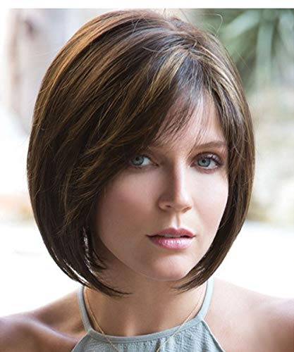 : MILISI Short Bob Wig for White Women Mixed Dark Brown Heat Resistant Synthetic Hair Wig with Bangs + 1 Wig Cap