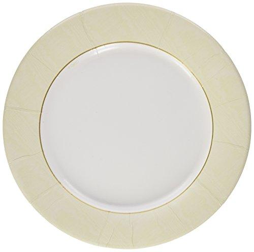 Entertaining with Caspari Moire Dinner Plates (8 Pack), Ivory
