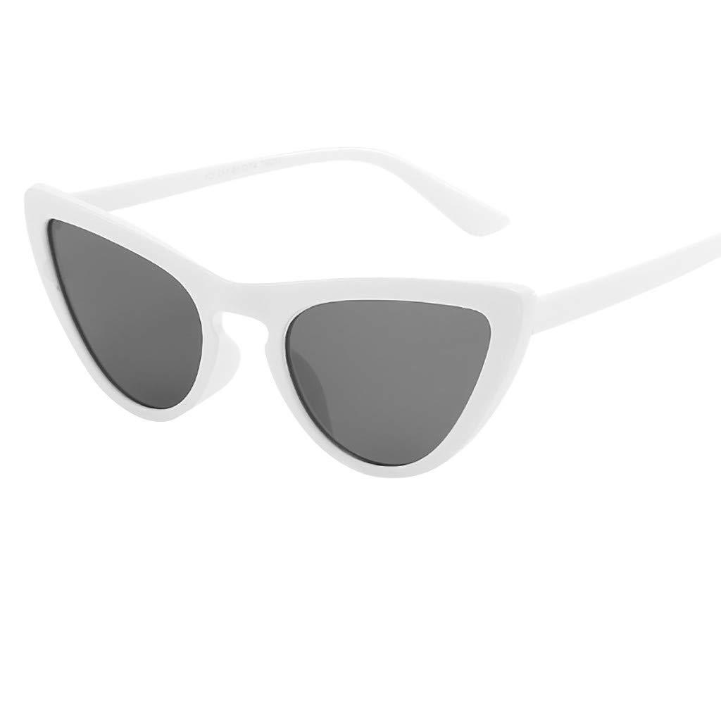 Yazidan Unisex-Mode-kleine Rahmen-Sonnenbrille Vintage Retro Cat Eye Sun Glasses Nerd Party Sonnenbrille Retro Design Stil Unisex Brille Matte Rubber Retro Vintage Brille mit Federscharnier