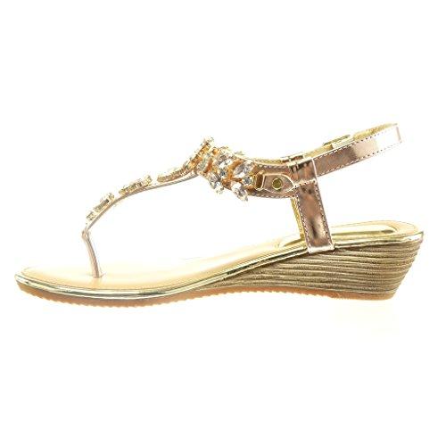 Angkorly - Chaussure Mode Sandale salomés ouverte femme bijoux brillant Talon compensé 2 CM - Champagne