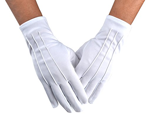 JISEN Men Police Formal Tuxedo Honor Guard Parade White Nylon Cotton Gloves 26cm -