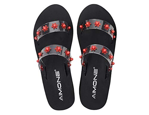 AIMONE Womens Slide Sandals with Red Pearl Flowers Black Chic Wedge Flip Flops for Girls