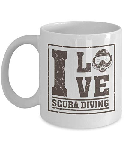 Distressed I Love Scuba Diving With Diver's Mask Coffee & Tea Gift Mug Cup, Party Favors, Supplies, Décor And Accessories For Professional Dive Instructor, Free-divers Or Diver Men & Women (11oz)