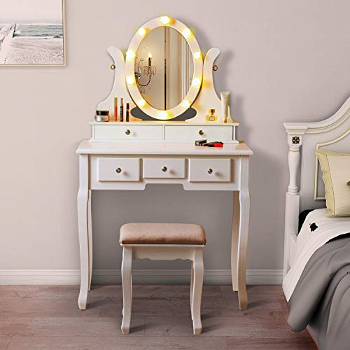 LED Vanity Table with 360° Rotating Oval Makeup Mirror,5 Drawers,Removable Top Organizer Multi-Functional Writing Desk Padded Stool with Cushioned Stool (White)