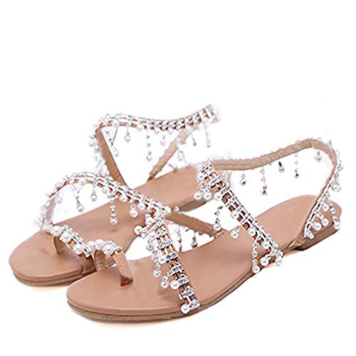 XMWEALTHY Women's Strappy Flat Sandals Bohemia Jeweled Toe Ring Gladiator Sandals Roman Shoes Silvery US 7.5 (Jeweled Sandals)