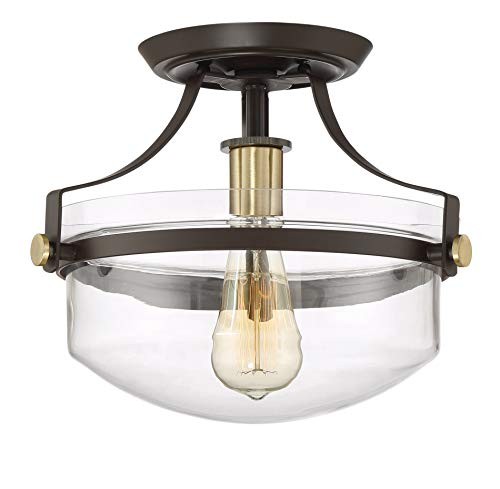"""Kira Home Zurich 12"""" Rustic Semi-Flush Mount Ceiling Light w/Glass Shade, Antique Brass Accents, LED Compatible, Oil-Rubbed Bronze Finish"""