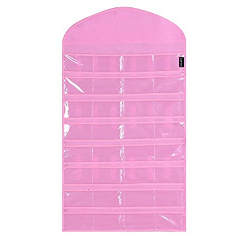 Supertech 32 pockets& 18 hook-and-loop tabs Hanging Jewelry Organizer (Not include metal hanger) Dual Sides Space-saving Household Accessory Holder Storage Bag (Mode B Pink) (Kid Jewelry Organizer compare prices)