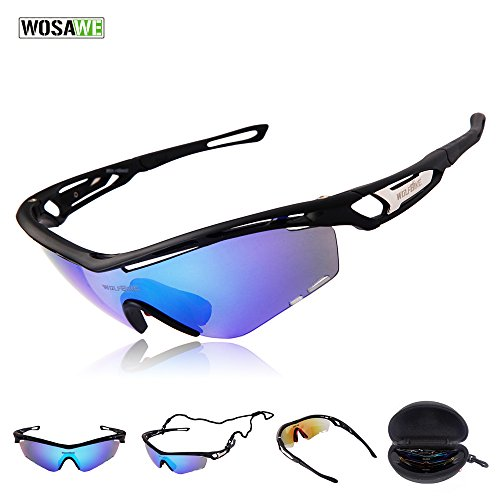 WOLFBIKE Outdoor Sports Cycling Sunglasses with 3 Set Interchangeable Lenses, Black - Sunglasses Fast