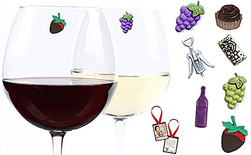 Wine & Chocolate Wine Charms Set of 7 Magnetic Drink Markers & Tags for Stemless Glasses, Champagne Flutes and More, Bottle Tag Included