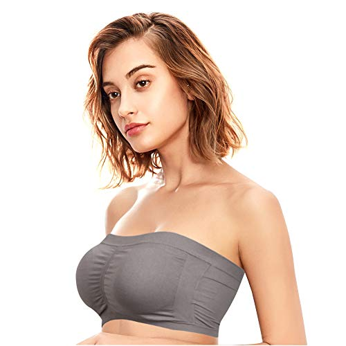 (KELLY KLARK Women's Plus Size Padded Bandeau Strapless Bras Stretch Seamless Tube Top Bra Basic Stretch Layer Seamless Tube Seamless Underwire Strapless Comfort Bra)