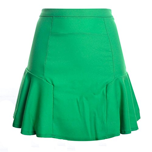 Oudan Mesdames A-Ligne lgante Jupe Plisse Taille Haute Mini Jupe en Mousseline de Soie Rockabilly Sirne Jupe Sirne Vert