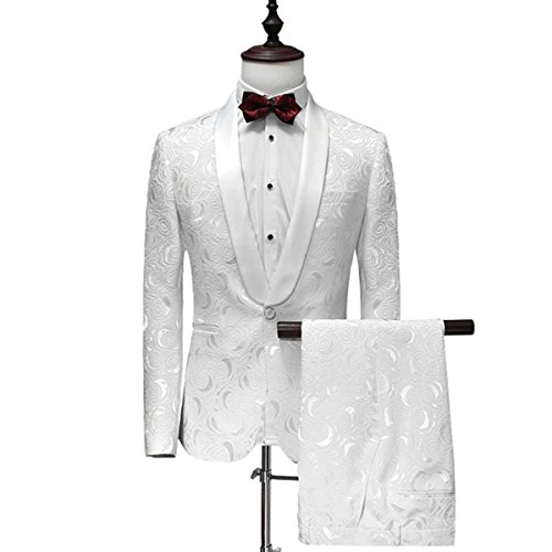 YFFUSHI Mens 1 Button 2 Piece White Tuxedo Shawl Collar Skinny Dress,White,Bust(Jacket) 42 Waist(Pants) - Shawl Button 1