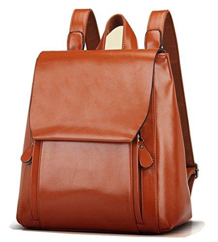Tibes sacchetto di modo Ecopelle scuola zaino donne casuale zaino Marrone