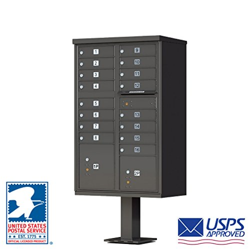 Cluster Mailboxes - Vital Cluster Box Unit, 16 Mailboxes, 2 Parcel Lockers, Dark Bronze