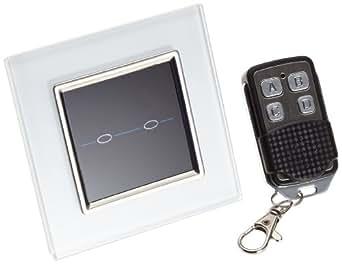 Retrotouch RTS2020 - Interruptor táctil con mando a distancia para 2 luces, color blanco