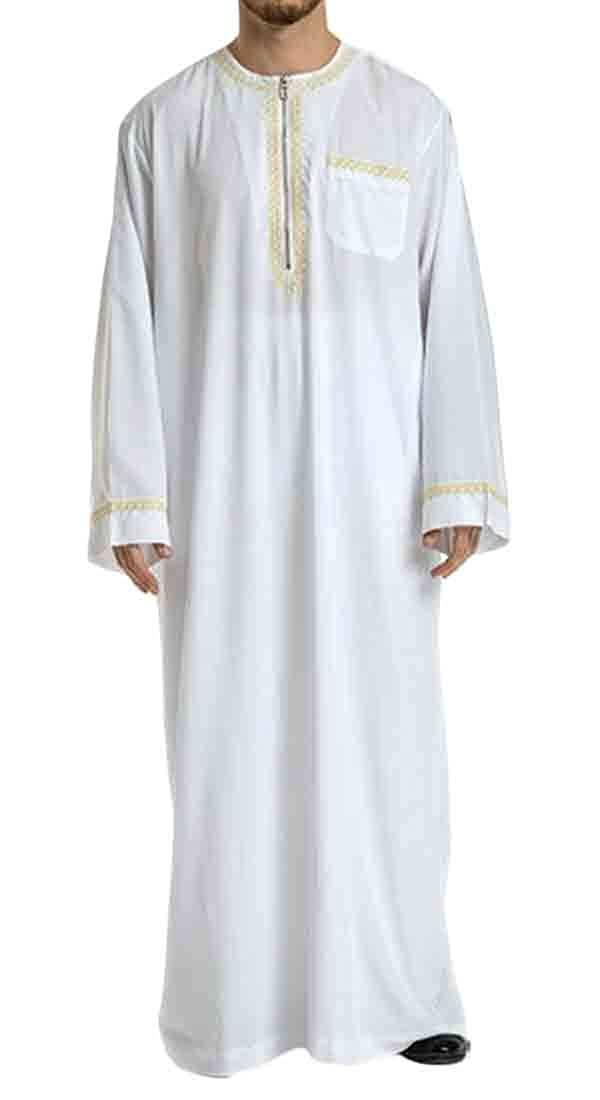 UUYUK Men Long Sleeve Embroidery Muslim Robes Relaxed Fit Crew Neck Shirt Tops Tee
