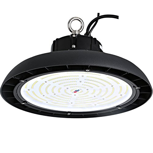 Hykolity 200W UFO LED High Bay Light Fixture, 26000lm 0-10V dimmable 5000K DLC Premium [750w MH/HPS Equivalent] Motion Sensor Optional, Indoor Commercial Warehouse/Workshop/Wet location Area Light - Bay Lighting Fixture