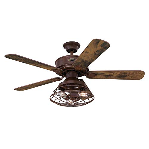 Westinghouse Lighting 7220500 Barnett 48-Inch Barnwood Indoor, Dimmable LED Light Kit with Cage Shade, Remote Control Included Ceiling Fan, (Wiring Up A Ceiling Fan With A Light)