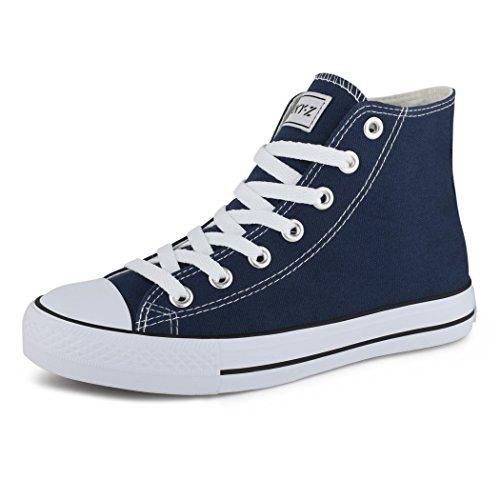 best-boots Damen High-Top Sneaker Schnürer Slipper Halbschuhe Sportlich  High Top dunkelblau