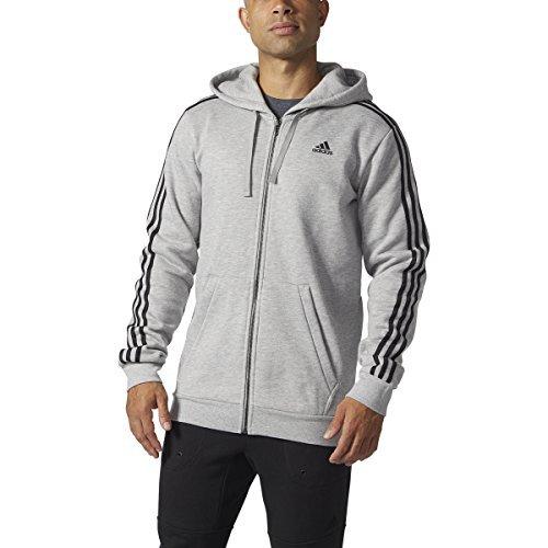 adidas Men's Athletics Essential Cotton 3 Stripe Full Zip Hoody, Medium Grey Heather/Black, 5X-Large