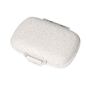 Elenxs Wheat Straw Portable Plastic Pill Storage Box 8 Grid Mini Vitamins Organizer Medicine Containers