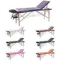 H-ROOT 3 Sezione Tavolo da Massaggio Leggera Large Deluxe Lettino da Massaggio Portatile Terapia Tatoo Salon Reiki Healing Massaggio Svedese (186cm x 60cm x 62-83cm, Viola)