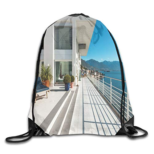 (Unisex Drawstring Bag Gym Bags Storage Backpack,Penthouse Summer Home With Wide Patio Balcony Veranda With Calm Sea Scenery)