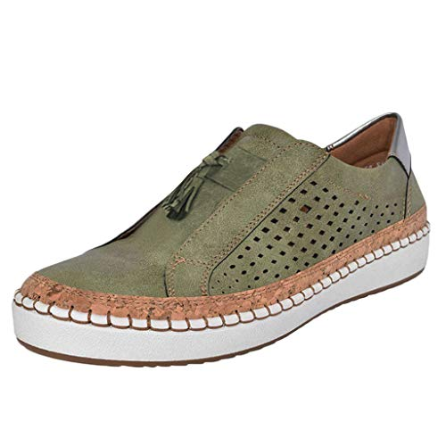 〓COOlCCI〓Women Cute Perforated Slip On Flat Round Toe Sneaker Shoes Flatform Loafers Hollow Out Flat Platform Shoes Green]()
