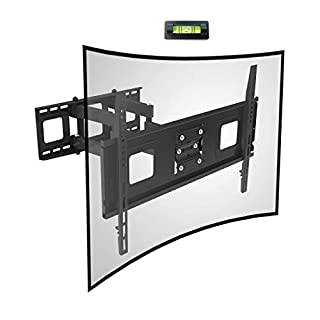 Fleximounts Curved Flat TV Wall Mount TV Bracket for 32-65 inch up to 132lbs VESA 600x400mm with Swivel Articulating Dual Arms, Full Motion TV Wall Mount