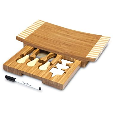 Picnic Time Concavo Bamboo Cheese Board and Cheese Tool Set