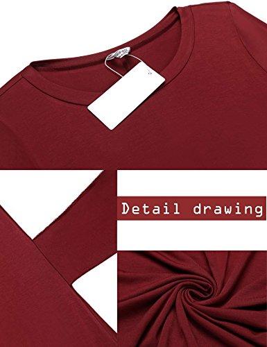 Di Rotondi 4 Colore Scuro Casuali Manica Collo Asimmetrico Rosso 3 shirt Delle Beyove Orlo Abito Del Legame Abiti T Donne Vita TFUnA48p