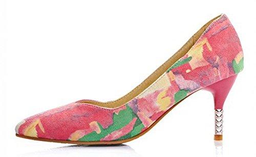 Aisun Donna Moda Floreale Stampa Scarpe A Punta Svasata Tacco A Spillo Stiletto Gattino Tacco Pompe Scarpe Da Sposa Partito Rosa