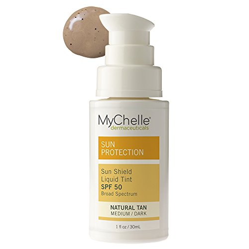 MyChelle Sun Shield Liquid Tint SPF 50 in Natural Tan, Oil-Free Zinc-Oxide Tinted Sunscreen for All Skin Types, 1 fl oz